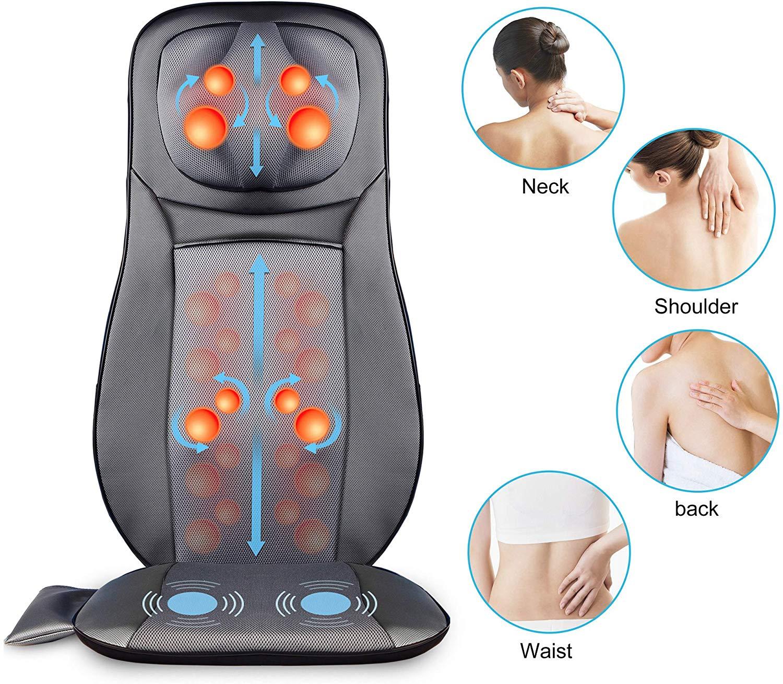 SNAILAX Fauteuil Massant Shiatsu Coussin de Massage Dos avec Chaleur - Siege Massant pour massage du cou et du dos dans le bureau à domicile SL233-FR